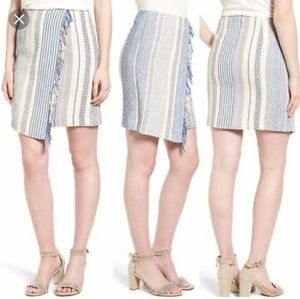 Halogen Ivory and Blue Vertical Stripe Skirt